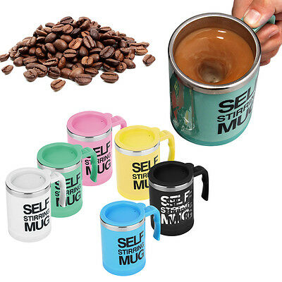 400ml Stainless Self Stirring Mug Auto Mixing Drink Tea Coffee Cup With Lid AU