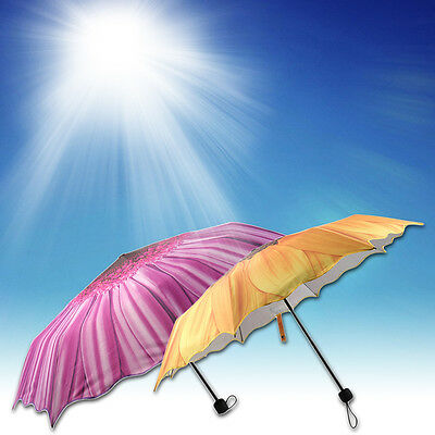 Women Fashion Portable Sunflower Folding Travel Anti UV/Rain/Sun Umbrella AU
