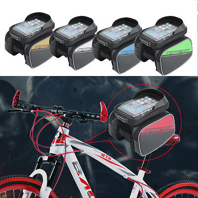 Bike Bicycle Front Tube Frame Waterproof Double Bags Pouch for 5.8 Phone AU