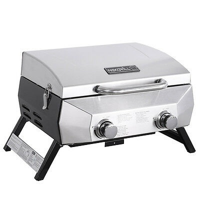 Nexgrill Portable 2-Burner Table Top BBQ Gas Grill | Stainless Steel |  20000BTU