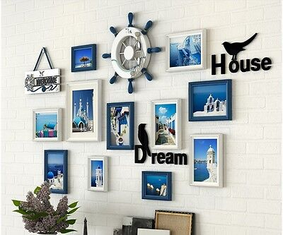 Mediterranean Photo Frame Wall Set Picture Frame Home Decor