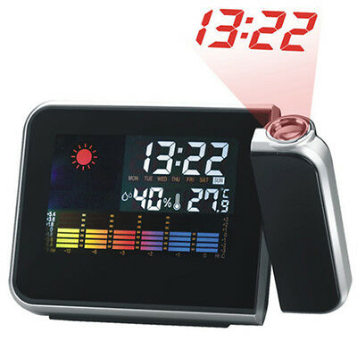 Digital Weather LCD Projection Snooze Alarm Clock with Colorful LED Backlight LO