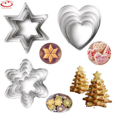 5pcs Stainless Steel Biscuit Cookie Cake Pastry Fondant Mold Mould Cutter