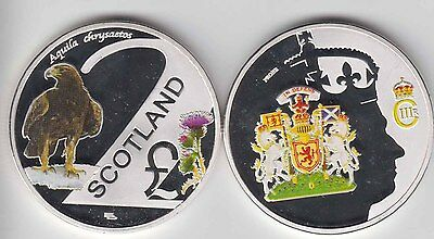SCOTLAND £2 ND 2016 Colorized Proof Cu Ni,Crown size unusual coinage