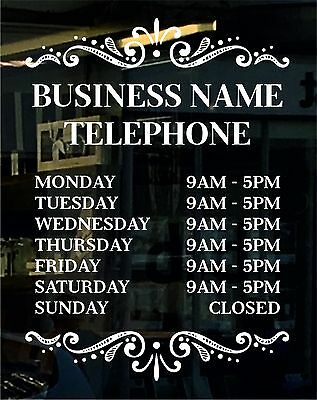 Opening Hours Time Sign (35cmx25cm) custom for business, retail & bespoke design