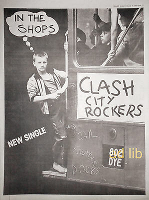 "THE CLASH - CITY ROCKERS, BRITISH 16"" x 12"" ADVERT/AD 1978"