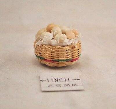 Food - Basket of Eggs -  1/12 scale dollhouse miniature HH01