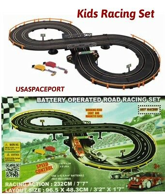 Kids Remote Control ROAD RACING SET 7' Race Track + 2 Slot Cars Battery Operated