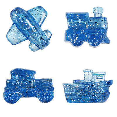 24 Blue Sparkle Mini Mobile Pony Beads Car, Plane, Train, Boat - Made in the USA