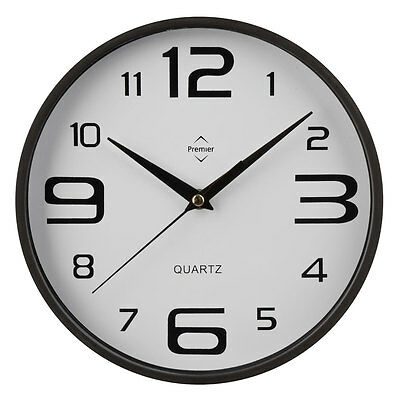 Black/White Plastic Round Analogue Wall Clock Home Office Decor New