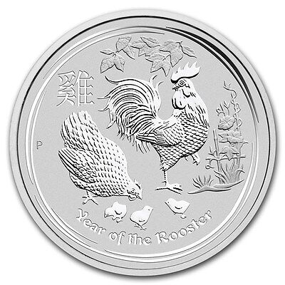 2017 Australian Lunar Series II Year Of The Rooster 2 Ounce Silver Bullion Coin