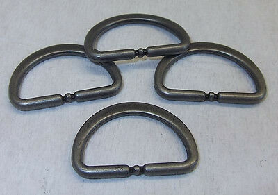 8 D-Rings flat-round iron gray 20mm (25x17mm) stainless steel new 32