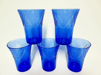 5 Matching Blue Royal Lace 9 Ounce Tumblers / OLD Guaranteed / Hazel Atlas Co