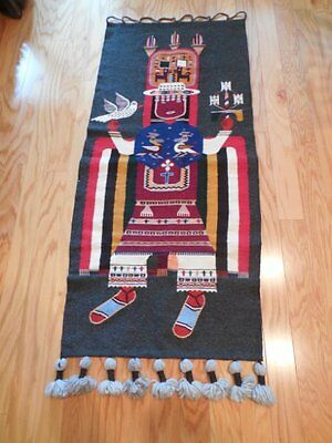 Vintage Wool INDIAN Figural Textile Hanging Wall Art Religious Ceremony 5' x 2'