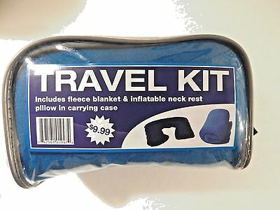 Airplane Bus Train Travel Kit Fleece Blanket Inflatable Neck Rest Pillow Blue