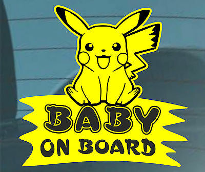 Baby on Board Funny Smile Pokemon Decal Sticker Sign Car Window Bumper Warning
