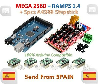Mega 2560 R3 + RAMPS 1.4 Control Panel + 5pcs A4988 Stepper Drive