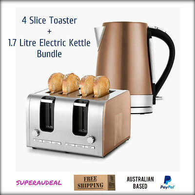 NEW 4 Slice Toaster 1.7L Electric Kettle Bundle Copper Silver Stainless Steel