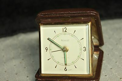 Vintage Time Master Travel Alarm Clock West Germany Leather Case