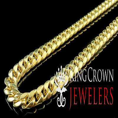 10K Authentic Yellow Gold Miami Cuban Curb Link Chain Necklace 7 Mm 22~26 Inch