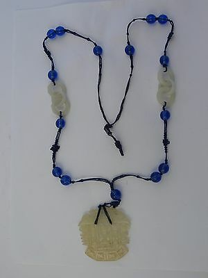 Superb  Antique 19th Century Chinese White Jade Court Necklace Peking Glass