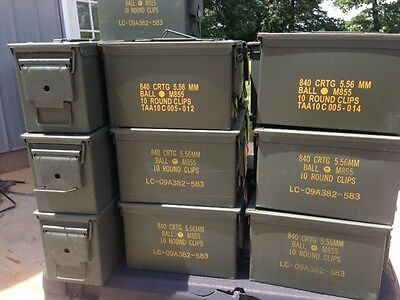 6 US Military Issued 50 CAL (M2A1) Ammo Can Box .50 Caliber Surplus Ammunition