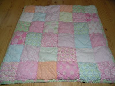 Pottery Barn Teen Quilted Pastel Floral Patchwork Pillow Sham Euro