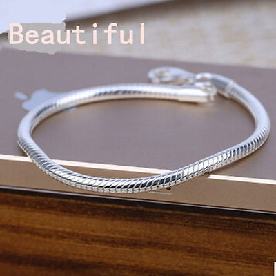 Chain Snake Silver Women Fashion Bangle Plated Charm 3MM Bracelet Sterling