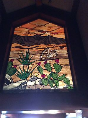 Vintage Iconic Chuck Franklin Stained Glass Art California Desert Sunset Cactus