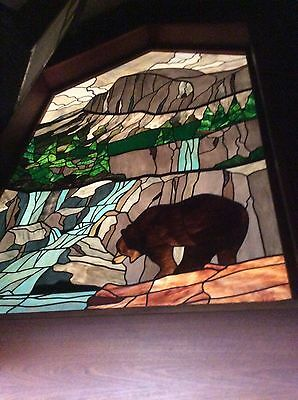 Vintage Iconic Chuck Franklin Stained Glass Art Yosemite Half Dome Bear Waterfal