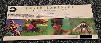 Idaho Youth Explorer Ticket to Adventure State Park Pass Covers One MVEF NEW