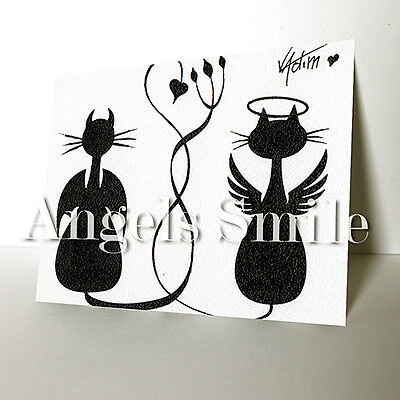 """SMALL ORIGINAL ART PICTURE CAT ANIMALS INK SKETCH DRAWING """"ANGEL and DEVIL"""" ACEO"""