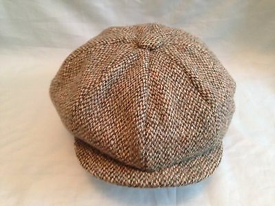 Green  8 Piece Peaked Peaky Cap Scots Harris Tweed Wool Newsboy Gatsby Baker Boy