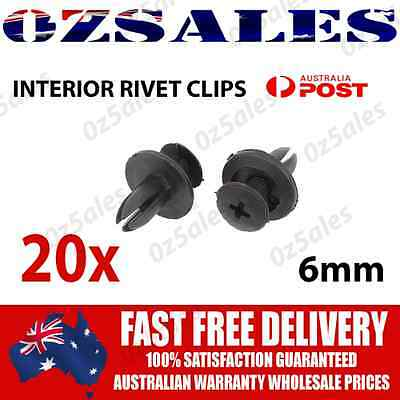 20x Car Plastic 6MM Clips Rivet Push fit Boot Trim Panel Pin Fender Fastener