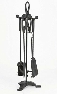 Warwick Traditional Durable Cast Iron 22 Black Companion Set, Black Loop