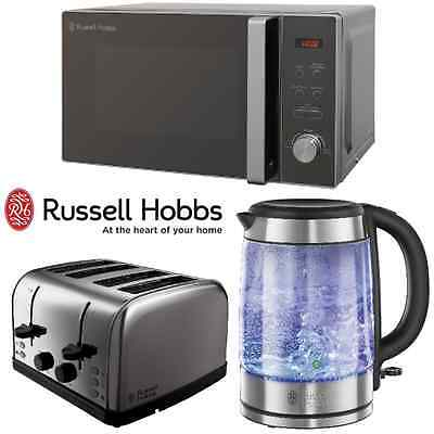 Russell Hobbs Stainless Steel Microwave Glass Kettle Futura 4 Slice Toaster Set