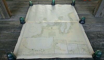 Pre War Lake Michigan Nautical Chart Polyconic Projection BIG 4ftx3ft