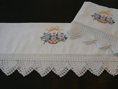 Pair Vintage Cotton Pillowcases Hand Embroidery Floral Basket Wide Crochet 3 1/2