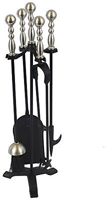 JVL Exmoor 5-Piece Fire Side Companion Tool Set With Pewter Handles, Black