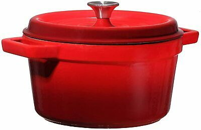 Bruntmor Enameled Cast Iron 6.5 Qt Covered Round Dutch Oven RED NEW