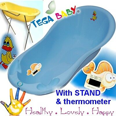 STANDARD Baby Bath Tub with STAND + thermometer  Happy Ducks -brand NEW Blue