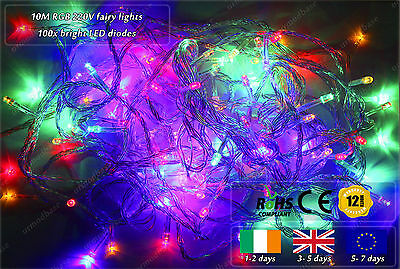 10m Indoor Outdoor LED RGBY Fairy Lights Xmas Christmas Tree Decoration 220VAC