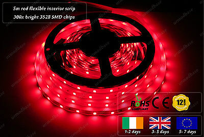 5m Indoor 300x 3528 LED Red Fairy Lights Home Interior Decorative Strips 12VDC