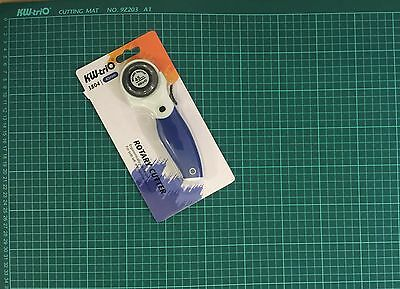 KW-triO 45mm Rotary Cutter+A1 Self Healing Grid Cutting Mat Non Slip Knife Board