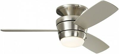 3-Blade 44-in Brushed Nickel Flush Mount Ceiling Fan with Remote/Light Kit