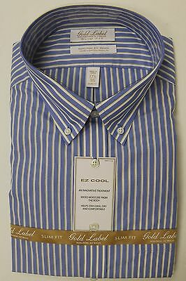 3e82ed809e14 GOLD LABEL ROUNDTREE & Yorke Slim Fit Button Down Dress Shirt 15 16 16.5 17  17.5
