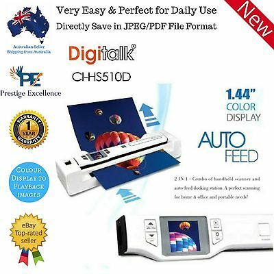 New PORTABLE DOCUMENT SCANNER Digitalk & Photo 2 in 1 Combo Auto Feed Dock Handy