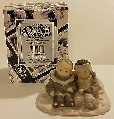 1997 Enesco Pretty As A Picture Snow Where Else I'd Rather Be Figurine W/box