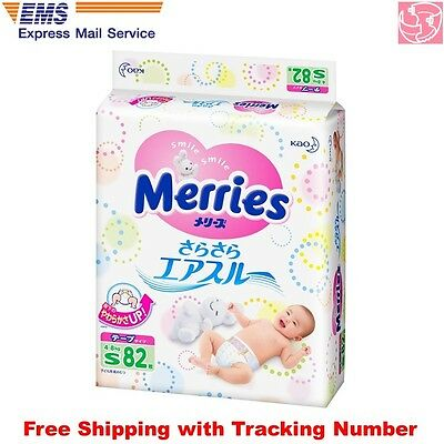 Kao Merries Air Through Tape Type Diapers Size S 4-8kg 82sheets Made in Japan