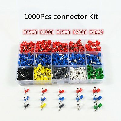 1020Pcs Wire Copper Crimp Connector Insulated Cord Pin End Terminal Kit